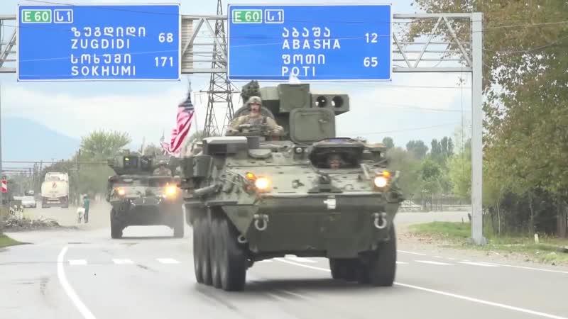 """""""ღირსეული პარტნიორი 2020""""-ში მონაწილე აშშ-ის სამხედრო ტექნიკის კონვოის მარშირება"""