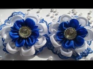 Нарядные Школьные цветы из репсовой ленты 2.5 и 4 см . Канзаши  с Алёной