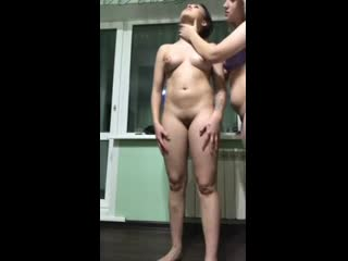 RUSSIAN SUBMISSIVE LESBIAN SLAVE PISS IN MOUTH