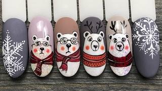 Зимний Дизайн Ногтей с Медвежатами в Шарфиках Гель-лаком Global Fashion / Новогодний Маникюр