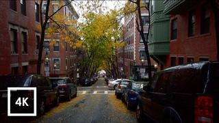 Walking in the Rain in Boston, MA (Binaural Rain on Umbrella Sounds in Beacon Hill) 4k ASMR