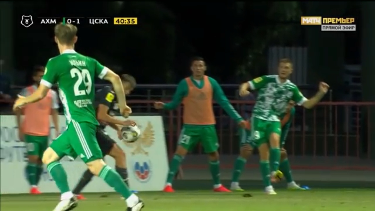 Ахмат - ЦСКА, 0:3. Попадания мяча в руку Щенникова