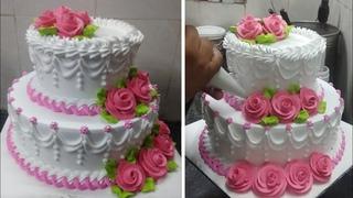 Two Step Amazing Flowers Cake |Wedding Cake|Engagement cake|Anniversary cake|Flowers Cake Design