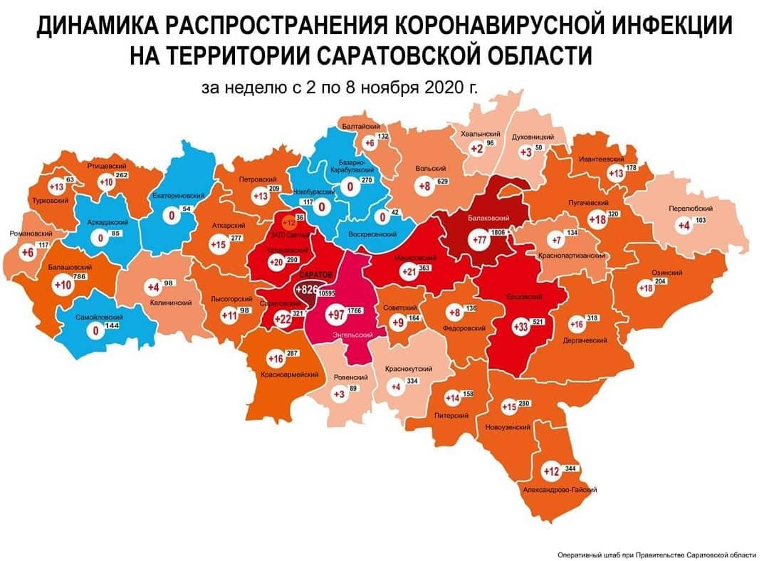 Оперативный штаб региона подготовил карту динамики прироста случаев коронавируса за неделю со 2 по 8 ноября по муниципалитетам Саратовской области