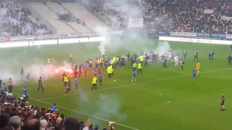 Беспорядки на стадионе Гренобля 11 05 2018