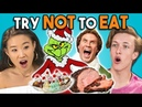 Try Not To Eat Challenge - Holiday Movies Teens College Kids Vs. Food