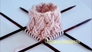 Резинка 2х2 с вытянутыми петлями. Вязание по кругу. Elastic band 2x2 Knitting in a circle.