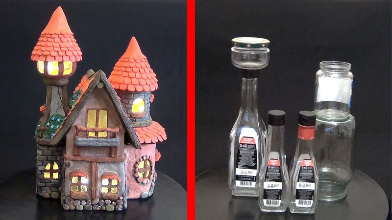 DIY Fairy House from Bottles How to make a fairy house from jar with your own hands