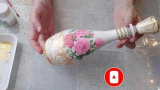 Как сделать декупаж бутылки с золотом своими руками. DIY/рукоделие