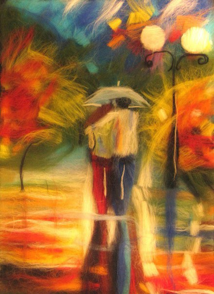 """Фото мастер-класс по живописи шерстью """"Осень"""""""