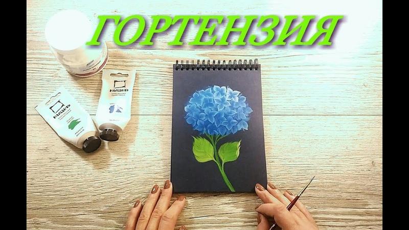 Гортензия акриловыми красками How to paint a Hydrangea