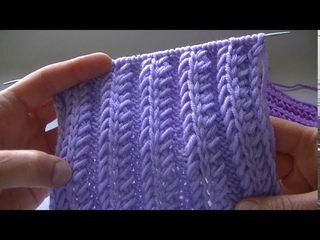 "Вяжем узор   ""ОБЪЕМНЫЙ КОЛОС С КОСЫМИ  ПЕТЛЯМИ"" спицами.We knit a pattern with knitting needles"