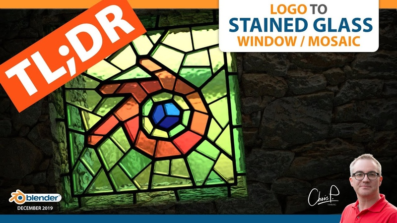 TLDR Logo to Stained Glass Window/Mosaic (Blender 3D)