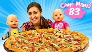 La muñeca Amelia y el bebé Pablito hacen una pizza de Play Doh. Vídeos para niñas