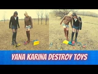 👣YANA KARINA DESTROY TOYS / PANTYHOSE / NYLON / CRUSH / BOOTS / NEELONFEET