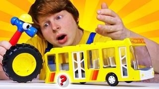 Автомастерская Саши: у торопливого автобуса отвалилось колесо! Видео для детей про машинки