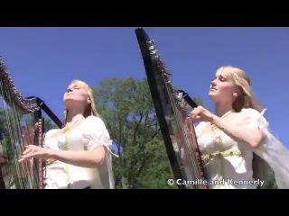 Американские сестры-близнецы игрют на арфах!!! The HOBBIT - Misty Mountains Cold - LOTR (Harp Twins) Camille and Kennerly