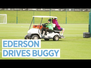 DIVING AND DRIVING | EDERSON DRIVES BUGGY IN WINDY POST WATFORD TRAINING | Man City Training