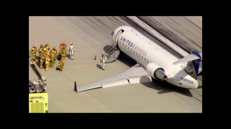 Bombardier СRJ200 Посадка без шасси SkyWest Airlines