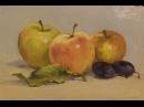 Des peintures à l'huile. les pommes et les prunes. nature morte.
