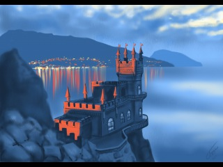 Невероятный Крым: Ласточкино гнездо. Swallow's Nest. Speed painting in ProCreate on iPad.