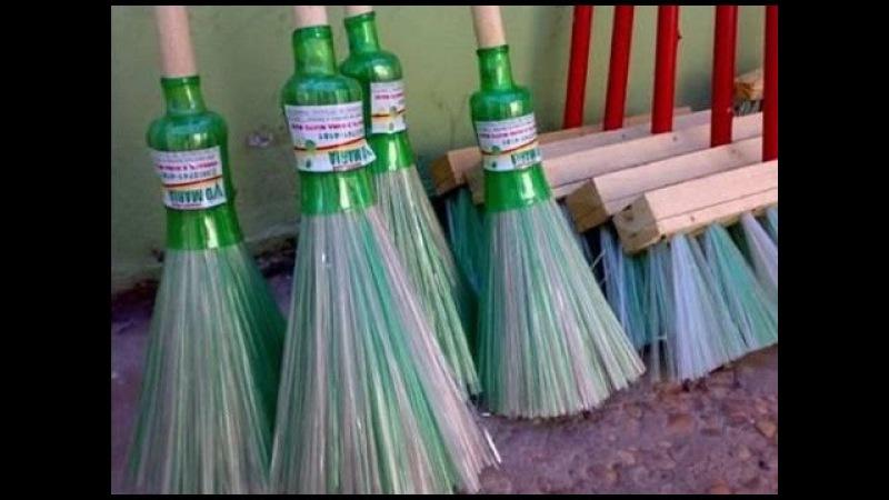Как делают метла из пластиковых бутылок