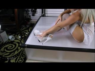 Alta in white lingerie white fishnet stockings 6.5 inch high heels