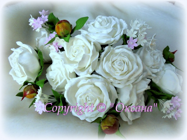 МК белой розы из фоамирана розочки для веночка