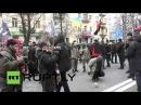 Украина: Протестующие атаковал Российский банк в связи с годовщиной кровавой день Девичьей.