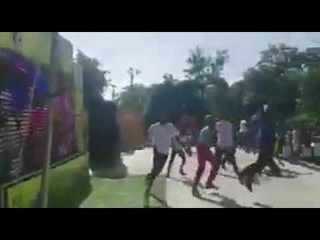People in Haiti celebrating Brazils goal yesterday.