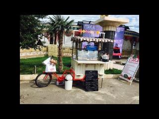 Трехколесный грузовой велосипед для размещения рекламы, велокафе / велокофейня.