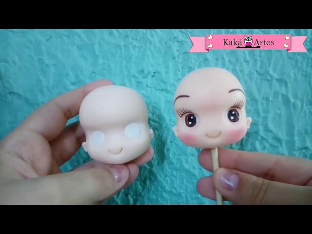 DIY - Cabecinha fofa com olhos enxertados e pintados (Biscuit, porcelana fria, cold porcelain)