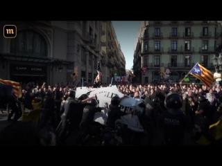 Столкновения сторонников независимости Каталонии с полицией