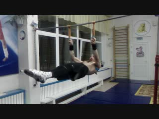 Front lever pull up on one finger and back lever