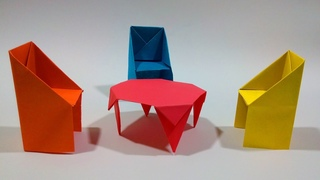 How to make a paper table - Video Tutorials Origami table.
