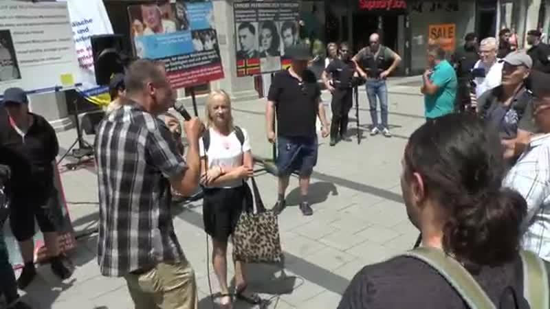 München 20-07-2019 - Diskussion mit Gegendemonstrantin endet handgreiflich