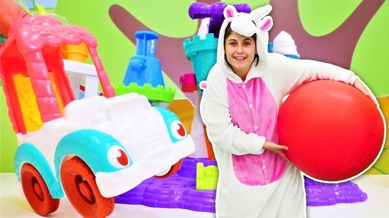 Çocuk videosu Unicorn Ayşe Play Doh dondurma dükkanı açıp gökyüzüne uçmuş