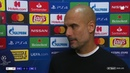 Pep Guardiola reacts to Manchester City's win against Shakhtar Donetsk