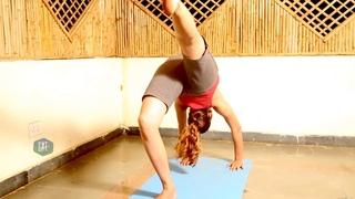 One Legged Wheel Pose - Eka Pada Urdhva Dhanurasana   Simple Yoga Poses for Beginners