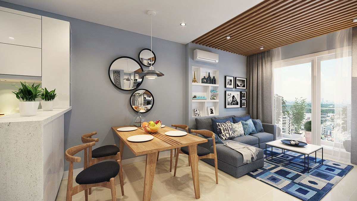 Стильная квартира с объединенной кухней-гостиной