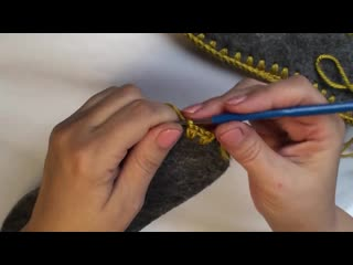 Подготавливаем подошву для вязаной обуви (тапочки, сапожки), обвязка стельки крю
