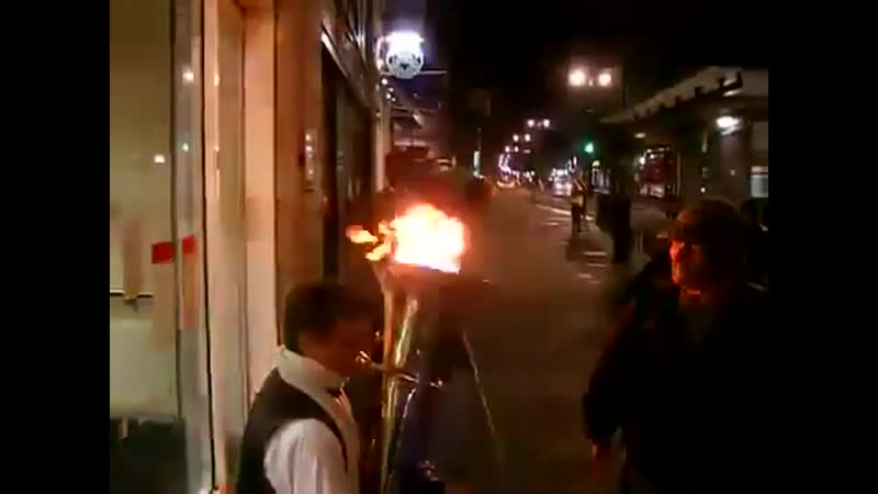 Flaming Tuba on the Street