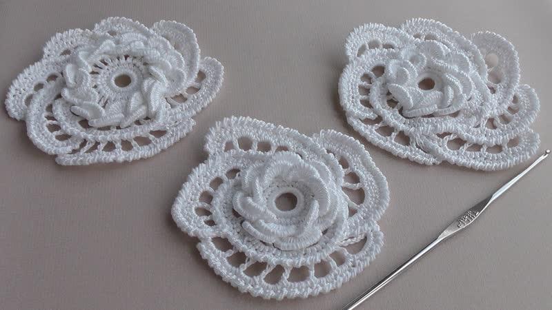 Как вязать цветок розочку крючком с витыми столбиками УРОКИ ВЯЗАНИЯ Crochet R