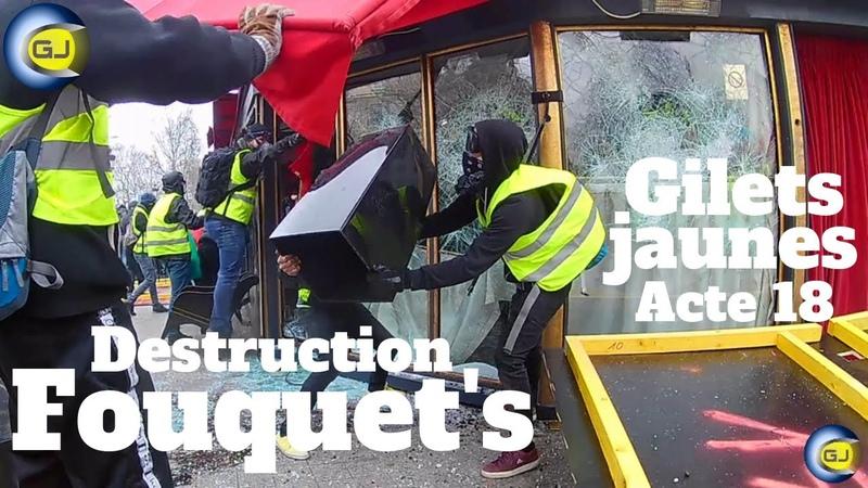 Destruction casse intégrale du Fouquet's Paris Champs Élysées gilets jaunes 16 mars acte 18