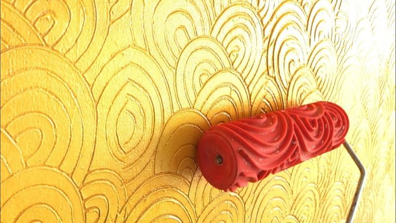 WALL PUTTY TEXTURE USE ROBBER ROLLER TO CREATE PATTERN
