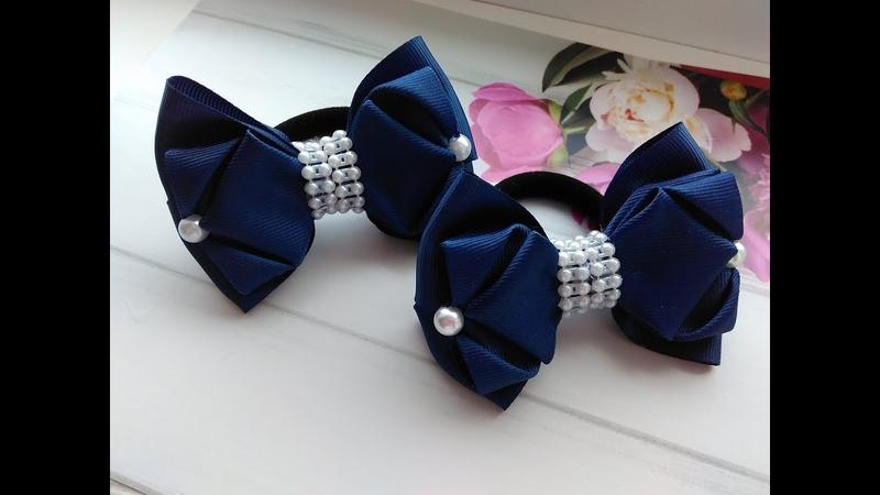 Бантики для волос из репсовых лент МК Канзаши Hair clips from REP ribbons