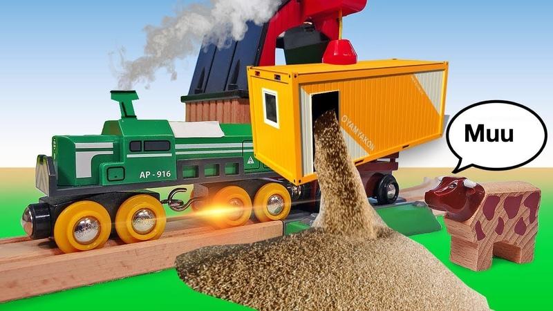 Cultivamos trigo en la ciudad de los trenes Ferrocarril de juguete Vídeos para niños