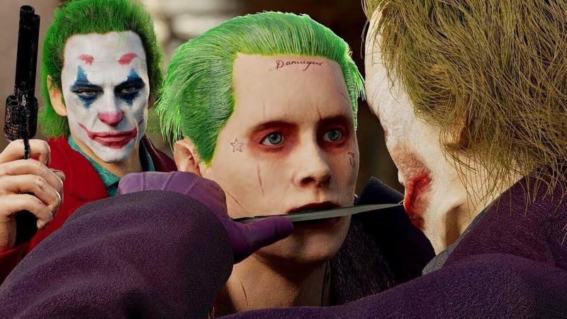 THE JOKER BATTLE! | Heath Ledger vs. Joaquin Phoenix vs. Jared Leto (The Battle Of The Clowns)