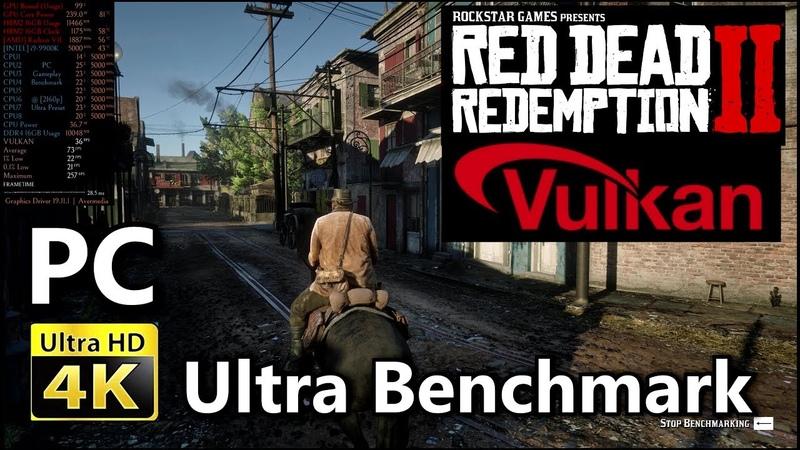 [4K] Red Dead Redemption 2 PC (Radeon VII 9900k) Ultra Preset Built In Benchmark | Rage Vulkan