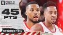 Damian Lillard CJ McCollum Full Highlights vs Phoenix Suns (2019.10.12) - 45 Pts!